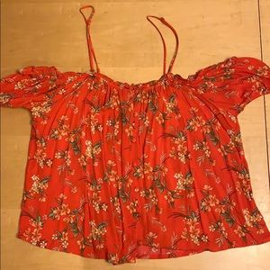 American Eagle cold shoulder floral blouse xl